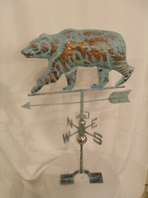 New LARGE Handcrafted 3D - Dimensional Bear Weathervane Copper Patina Finish !!