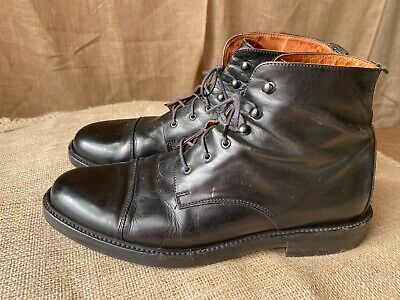 Alfani Mens Black Leather Lace Up Ankle Boots Cap Toe Size 11D Italy