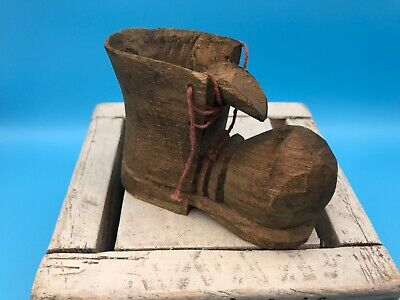Vintage Carved Wooden Shoe/Work Boot with Laces