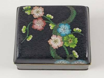 Antique Chinese Cloisonne Covered Box W/ Lotus Blossoms