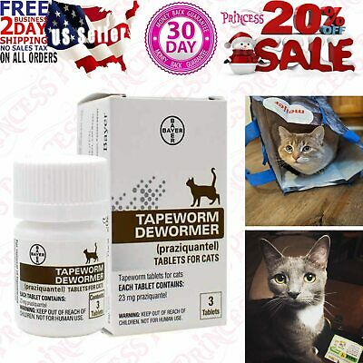 Bayer Tapeworm Dewormer (Prazquantel Tablets) for Cats, Cat Dewormer, 3 Tablets
