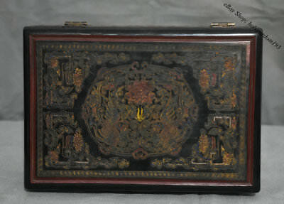 """10"""" Rare Old Chinese Wood lacquerware Carved Flower Phoenix storage Jewelry box"""