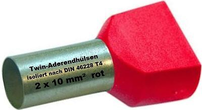 Twin Wire End Ferrules 2 x 10 mm ² Red Double Tinned