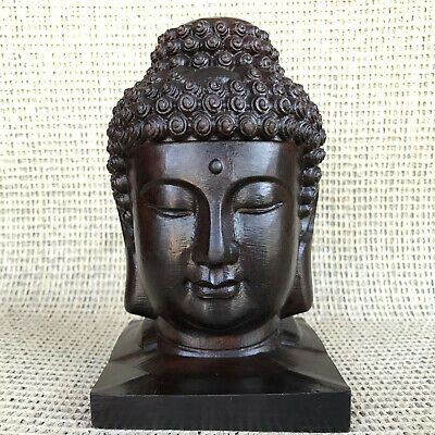 903G natural wood exquisite hand-carved ebony Buddha head healing  2117N