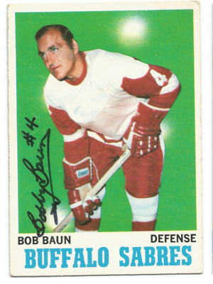1970-71 Topps Bobby Baun Detroit Red Wings Toronto Maple Leafs Autograph Card