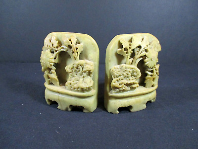 Pair of Vintage Oriental Soap Stone Carved BOOK ENDS
