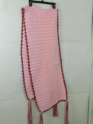 """Hand Knitted Acrylic Afghan Baby Throw Blanket Fringe Pink 16.5"""" x 87"""""""