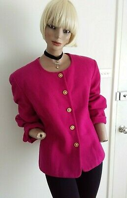 KATIES VINTAGE 90s Wool Blend LIPSTICK Pink Coat Jacket with Gold Buttons 16/L