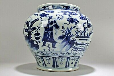 An Estate Chinese Blue and White Circular Story-telling Fortune Porcelain Vase