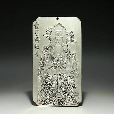 Collectable Old Miao Silver Hand-Carve Fallen Dragon Kwan-Yin Bring Luck Pendant