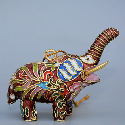 Collectable China Old Cloisonne Hand-Carve Lovely Elephant Unique Luck Statue