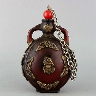 Collectable Old Miao Silver Inlay Amber Hand-Carved Buddha Delicate Snuff Bottle
