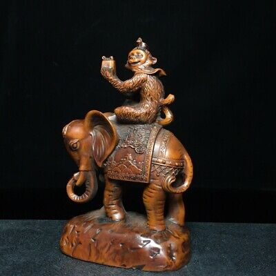 Collect Old Boxwood Hand-Carved Piquant Monkey Ride Elephant Bring Luck Statue