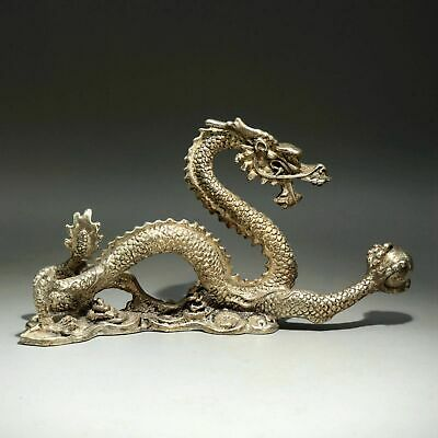 Collectable China Old Miao Silver Hand-Carve Myth Dragon Moral Bring Luck Statue