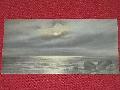 Antique Moonlight/Clouds Over Ocean Postcard NOS EXC