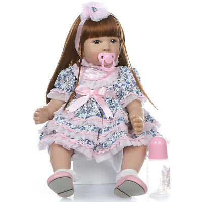 24inch 61cm Long Hair Reborn Baby Dolls Real Life Soft Silicone Baby Doll Toy