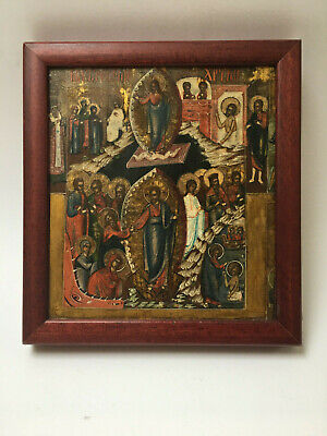 Antique Russian Hand painted Icon of the Resurrection of Christ 19 th.century