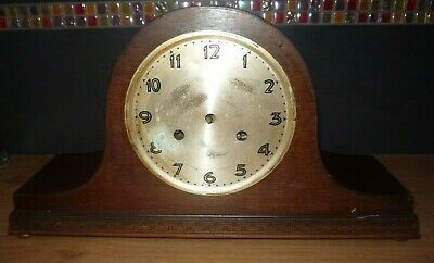 Vintage Napoleon Hat Wooden Mantle Clock UWS German Not Working Spares Repairs