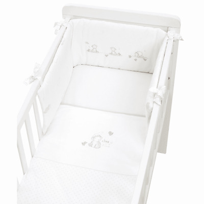 Mothercare My First Crib Bale 100% Cotton Cot Bumper Coverlet Fitted Sheet White