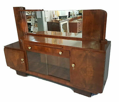 Italian Walnut Art Deco Sideboard From 1930 With Big Mirror And Bar Cabinet