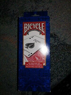 BICYCLE PLAYING CARDS 12 SEALED  FACE 6 RED And 6 BLUE DECKS POKER PACK (A7)