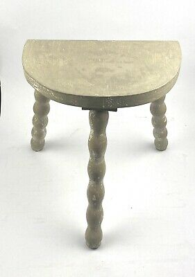 Vintage French 3 Legged Bobbin Leg Wooden Milking Stool With Half Moon Seat Grey
