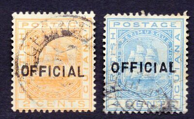 British Guiana 1882 set of stamps SG#171-172 overprint official used
