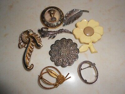 Bijoux anciens : lot broches.
