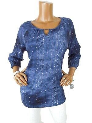 JM COLLECTION Womens Top L NWT $54 Blue Stretch Light Wt Keyhole Casual Dressy