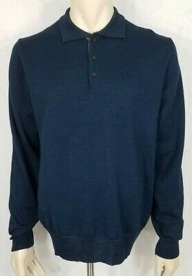Neiman Marcus blue Merino Wool Acrylic blend pullover sweater mens XXL Italy