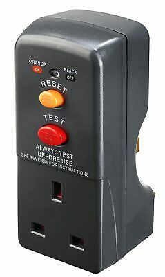 RCD Plug-In Circuit Breaker Power Cut Protection Electrical Safety Adaptor Grey