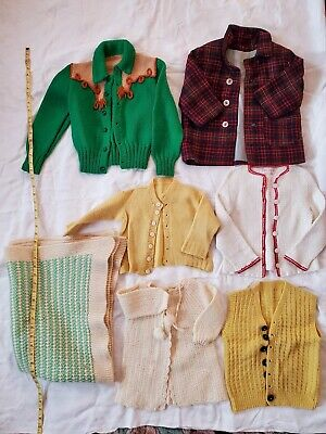 Vintage Child Baby Clothes lot Handmade Crochet Knit 1940's Sweaters Cowboy