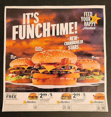 Hardee's Restaurant coupon 5 full sheets Exp 05/15/2020 Hardees 90 Coupons 5/15