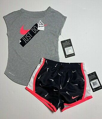 Nike Toddler Girls Dri Fit Shorts & Tee Shirt Set Outfit 2T NEW #5