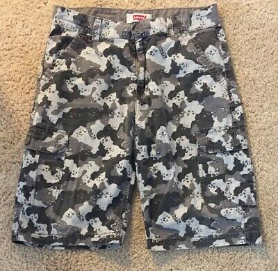 LEVIS CHARCOAL CAMO CARGO SHORTS Boys Size 20 R / 30W CAMPING
