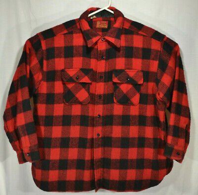"Vintage Sears Kings Road Plaid Wool Shirt Jacket 3XL Full Cut ""F-C"" Red Black"