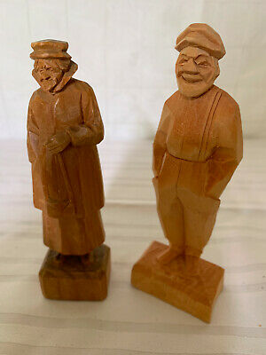 Vintage Quebec Wood Carved Figurines - Signed - TRYGG style