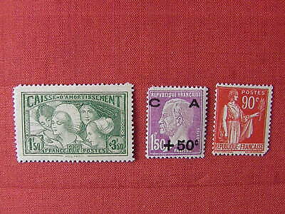 FRANCE 1928/33 251, 269, 285  Neufs* Cote 277 € Defectueux  Photos & Description