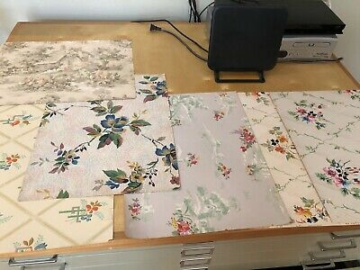 1930s-40s Vintage Wallpaper from Sample Book - 6 Pieces - Good Condition