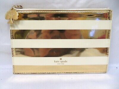 Kate Spade Patent Leather Pencil Pouch - Gold/White