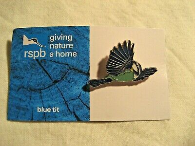 Rspb Blue Tit Pin Badge Giving Nature A Home New Blue/White Card