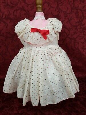"1930's Ideal Shirley Temple Composition Doll Dress Red Polka Dot For A 25"" Doll"