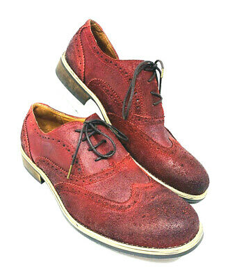 Kenneth Cole Reaction Size 11M Mens Rogue Trip Red Learher Wing Tip Dress Shoes