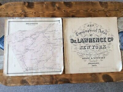 Brasher NY Authentic Map  Disbound From 1865 Topographical Atlas By SN & D Beers
