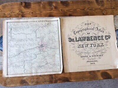 Canton NY Authentic Map  Disbound From 1865 Topographical Atlas By SN & DG Beers
