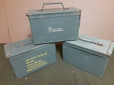 (12 PACK) EMPTY SCRATCH AND DENT 50 Cal M2A1 AMMO CAN * FREE SHIPPING *
