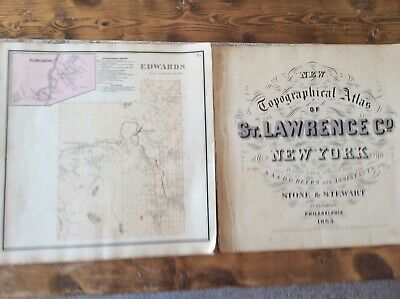 Edwards NY Authentic Map  Disbound From  1865 Topographical Atlas By SN Beers