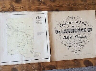 Fine NY Authentic Map  Disbound From  1865 Topographical Atlas By SN & DG Beers