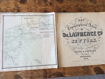 Hopkinton NY Authentic Map  Disbound From 1865 Topographical Atlas By SN Beers