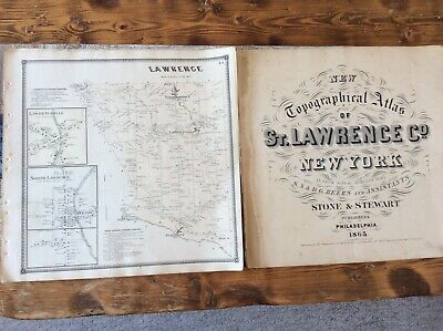Lawrence NY Authentic Map  Disbound From 1865 Topographical Atlas By SN Beers